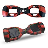 ABBY Coque Silicone Protection Hoverboard 6.5 Pouces Gyropode Trottinette électrique 2 Roues Scooter Overboard (Rouge Noir)
