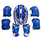 Vicoki Set de Protection Garçons, Casque de Roller en Ligne Vélo Hoverboard Skateboard Trotinette pour Enfants 5-12 Ans, Poignet + Coudières + Genouillères